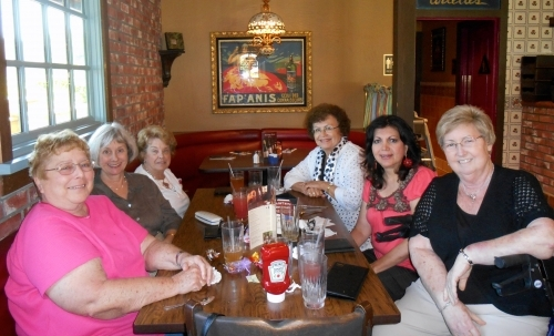 First of two photos of six Phaeton ladies at lunch in Monrovia, CA on 9-19-13. Front left to front right: Pat Taylor, Sa