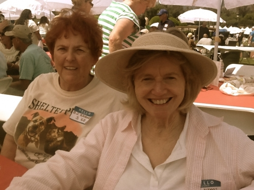 Mae Woods (W'62) in front/Betty-jo Allison (Phaeton) in back. April 5, 2014 at Santa Anita Racetrack for the annual FEF