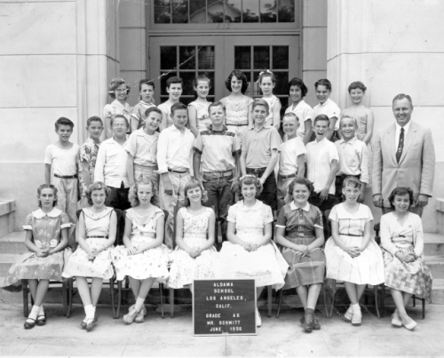 Aldama Elementary School. Mr Scmmitt's A6 Class. June 1956. Bottom Row, left to right: Juliana Wingate, Judy Fowler, Sa