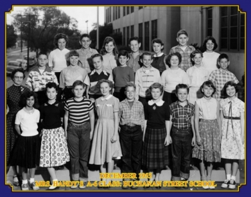 Buchanan Street School. Mr. Handy's A6 Class. December 1955. Photo courtesy of Art Couvillon. Front row, left to right:
