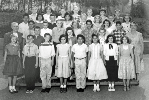 Latona Avenue Elementary School. Mrs. Bauer's A6 and B6 Classes. 1956. Front Row, left to right: Kathy Jones, George Pa