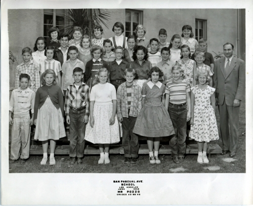San Pascual Avenue Elementary School. Mr. Pozo's A5, B6, and A6 Classes. June 1956. Front row left: Dean Nelson, Judy D