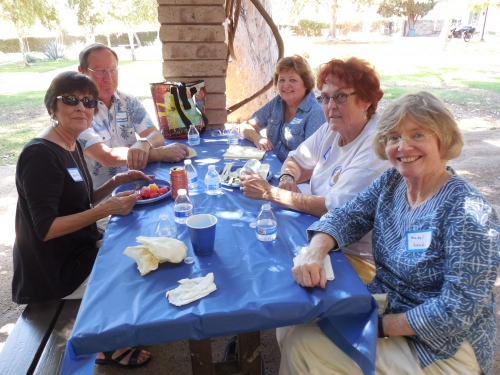 Left to right around table: Syl Mulino (Mitch's wife), Vic Kostrokov, Nena Kerr, Betty-Jo Allison, Mae Woods