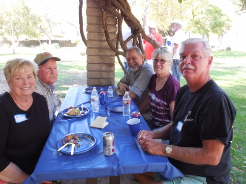 Left to right around table: Betty, Dennis Hubbard, Manny Rangel, Dedra Rangel, and Bob LaClair.