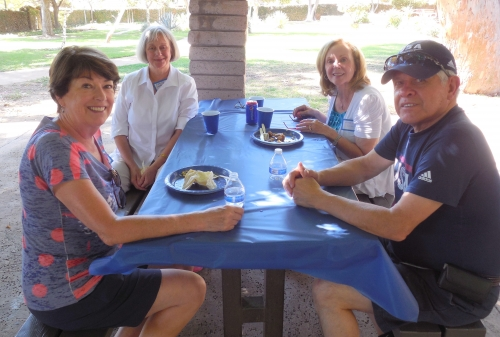 Left to right around table: Sue, Sandy Chilingsworth, Norma, and Manny Ruiz